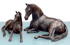 """2 Pferdeskulpturen """"Araber-Stute mit Fohlen"""" im Set, Bronze"""