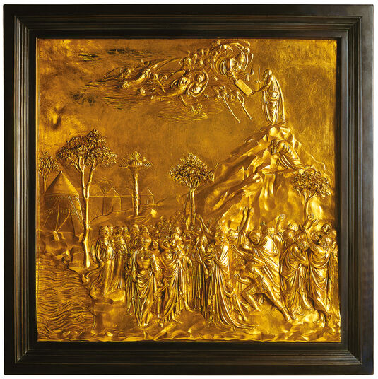 "Lorenzo Ghiberti: ""Moses receiving the Law from God on Mt. Sinai"""