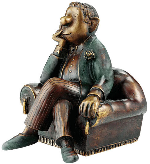 """Loriot: Sculpture """"Man in Armchair"""", bronze"""