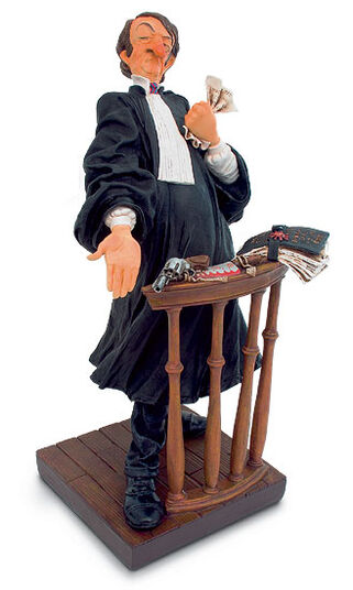 "Guillermo Forchino: Caricature hand painted ""The lawyer"" Art castings"