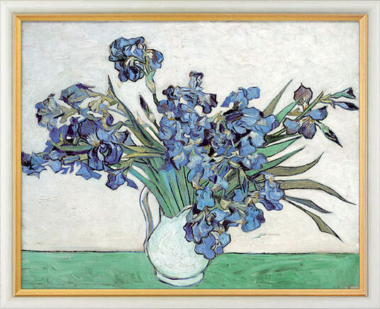 Vincent van Gogh: Painting 'Irises' (1890), framed