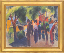 "Picture ""Walkers under trees"" (1913)"