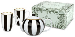 Tealicious Black & White: The Tea-pot And 2 Cups in A Set
