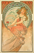 """Coloured glass Pictures """"The Music"""" (1898)"""