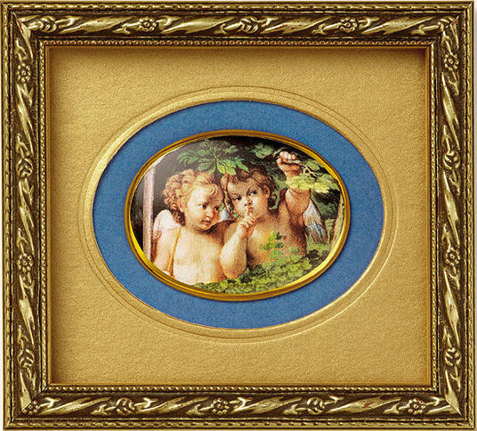 "Agostino Carracci: Miniature porcelain picture ""Whispering Angels"""