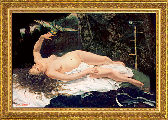 "Gustave Courbet: Painting ""Woman with Parrot"" (1866) in museum framing"
