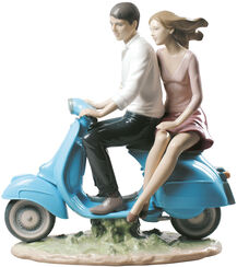"Porcelain Sculpture ""On The Way with You"" (Marco Antonio Noguerón), Painted by Hand"