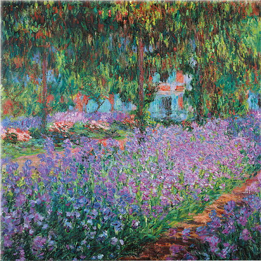 "Claude Monet: Glasbild ""Irisbeet in Monets Garten"""