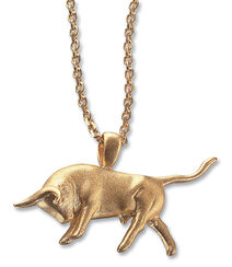 """Necklace """"Attacking bull"""", gilded edition"""