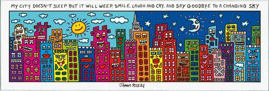 """James Rizzi: 5-teiliges Magnetboard """"City"""", Glas/Kunststoff"""
