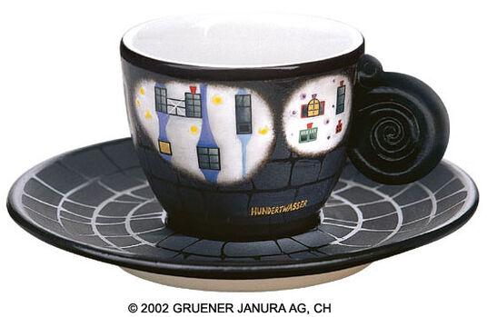 """Friedensreich Hundertwasser: Espresso Cup """"In the Meadows"""""""