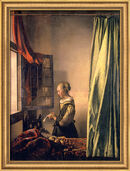 "Painting ""Girl reading a letter by an open window"" (1658) in museum framing"