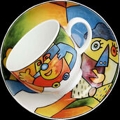 """Kaffeetasse und Untertasse """"Akrobat Fliege"""", Porzellan"""