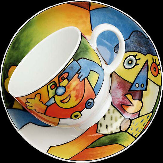 "Otmar Alt: Coffee cup and saucer ""Acrobat Flight"", porcelain"