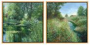 "2 Pictures ""L'étang à Giverny"" + ""Coquelicots à Grimaud"" in a set"