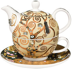 "A Tea Pot with The Integrated Cup ""The Tree of Life"", Porcelain"