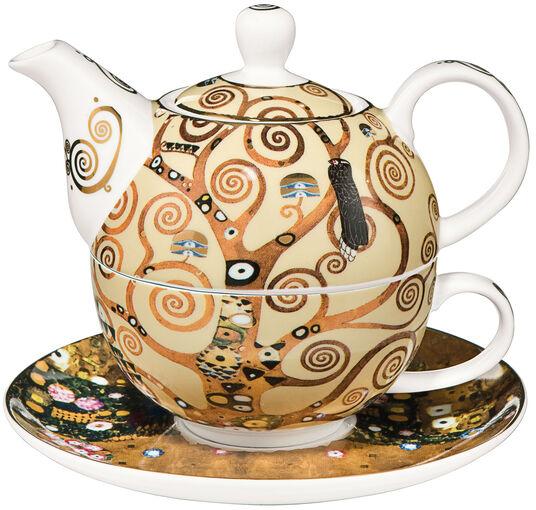 """Gustav Klimt: Teekanne mit integrierter Tasse """"Lebensbaum"""", Porzellan"""