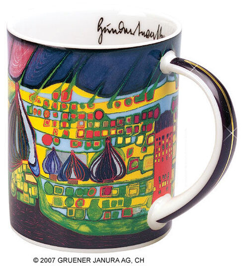 "Friedensreich Hundertwasser: Magic Mug ""Yellow last will"", Porzellan"
