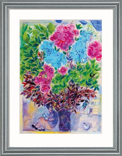 """Marc Chagall: Bild """"Der Wartende unter dem Blumenstrauß"""", Version silber gerahmt"""