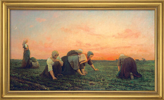 Jules Breton: Picture 'The Weeders' (1868) in museum framing