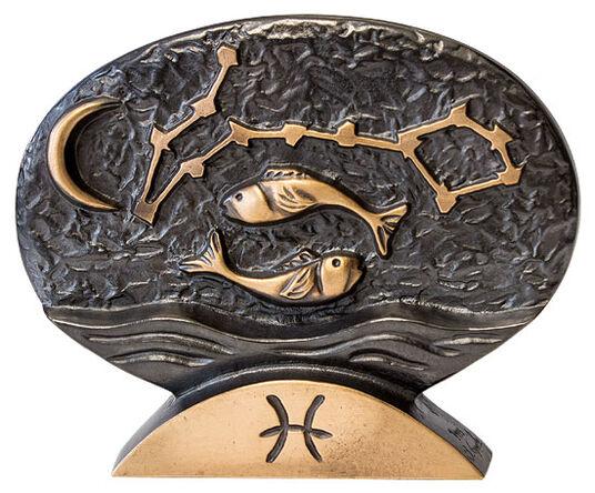 """Bernardo Esposto: Sternzeichen-Skulptur """"Fische"""" (20.2.-20.3.), Bronze"""