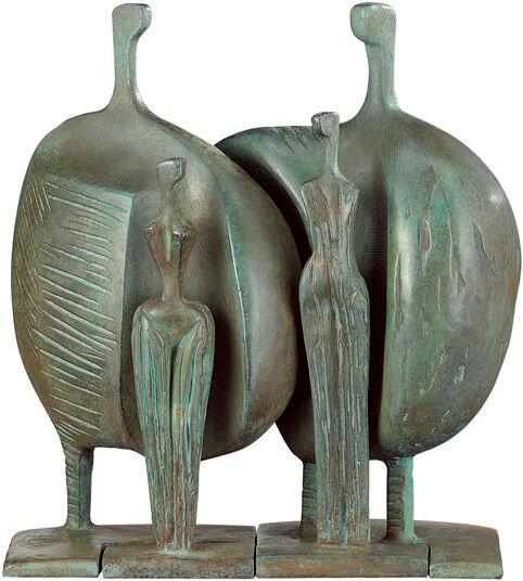 """Itzik Benshalom: Skulpturengruppe """"La Familia"""", Version in Bronze"""