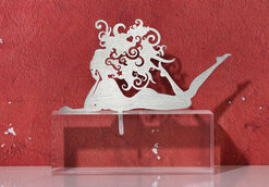 "Zodiac sculpture ""Virgo"" (24.8.-23.9.), Stainless steel on base"