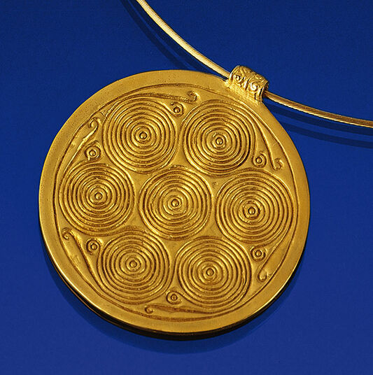 Sun whirl necklace, .925 sterling silver gold-plated