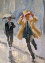 """Bild """"Zwei Männer im Regen"""" (2017) (Unikat)"""