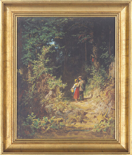 "Carl Spitzweg: Picture ""Love couple in the forest"""