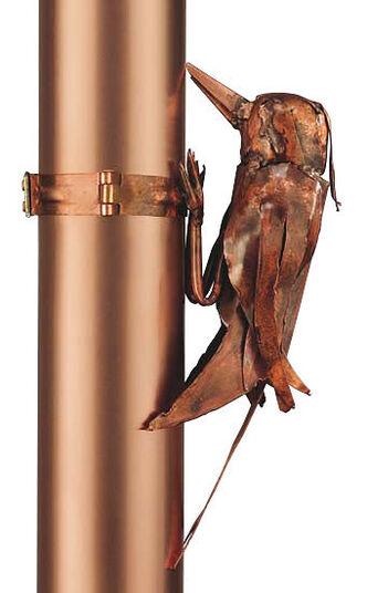 """Marcus Beitelhoff: Sculpture """"downpipe Woodpecker"""", copper"""