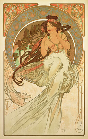 """Alphonse Mucha: Coloured glass Pictures """"The Music"""" (1898)"""