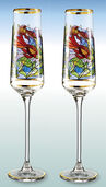 "Set of 2 ""Fish"" champagne goblets - by Louis C. Tiffany"