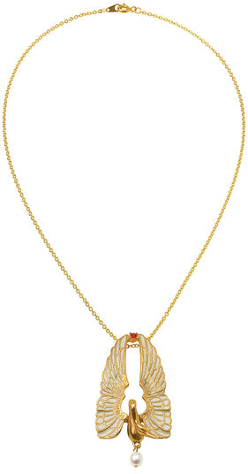 "Collier ""Golden Swan"" mit Perle"