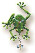 """Wanduhr """"Frosch und Fliege"""", Kunstguss handbemalt"""