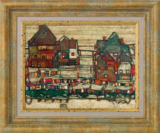 """Egon Schiele: Bild """"Häuser mit bunter Wäsche"""" (1914), gerahmt"""