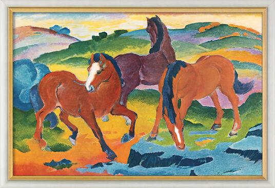 """Franz Marc: Bild """"Die roten Pferde"""" (1911), gerahmt"""