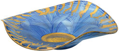 """Glass dish """"Sea Breeze"""" with gold accents"""