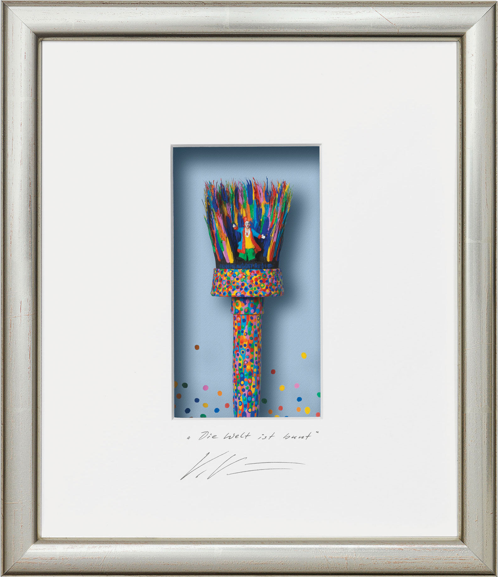 "3D-Painting ""The World Is Colorful"", Framed"