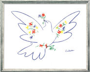 """Painting """"Peace Dove with Flowers"""" (1957) in silvery frame"""