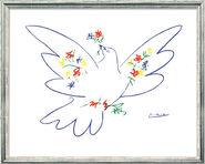 """Bild """"Friedenstaube mit Blumen"""" (1957), gerahmt"""