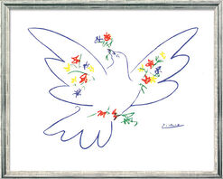 "Painting ""Peace Dove with Flowers"" (1957) in silvery frame"