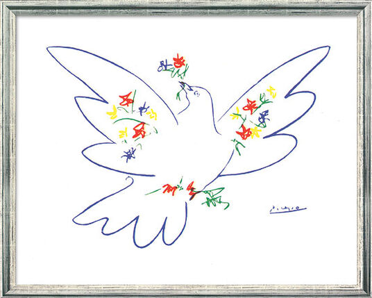 """Pablo Picasso: Painting """"Peace Dove with Flowers"""" (1957) in silvery frame"""