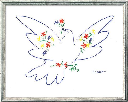"""Pablo Picasso: Bild """"Friedenstaube mit Blumen"""" (1957), gerahmt"""