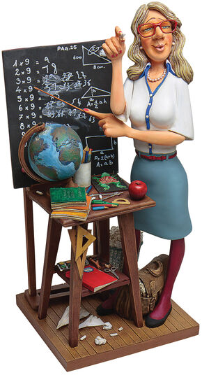 "Guillermo Forchino: Karikatur ""Die Lehrerin"", Kunstguss handbemalt"