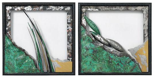 Karl F. Hofeditz: Two wall objects 'Grass' + 'Corn' in set