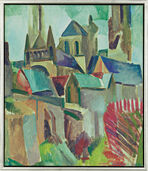 "Picture study ""The Towers of Laon"", (1912), framed"