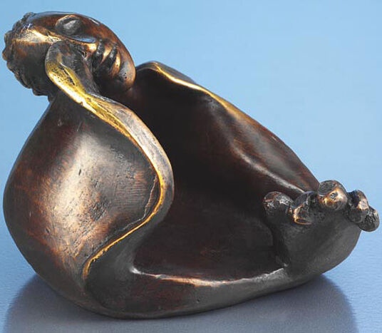 "Dusanka Jovic: Sculpture ""Dreamy"" with tealight holder, bronze"