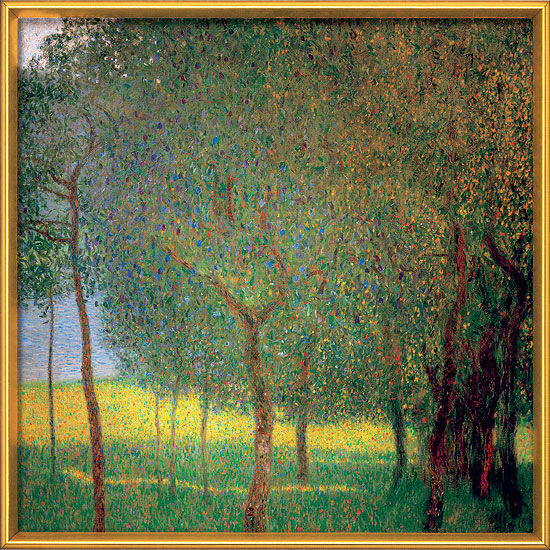 "Painting ""Fruit Trees on Attersee"" (1901) in the frame"