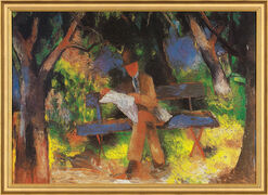 "Picture ""Reading Man"" (1914) in frame"